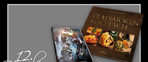 """Nostalgie und Kulinarisches - Hinter unserem 12. Türchen verlosen wir heute eine DVD """"Time in! ConQuest 2012-2017"""", zur Verfügung gestellt von Live Adventure und ein Gladiatoren-Kochbuch von Zauberfeder."""