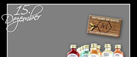 """Für die Liebhaber von Honigwein ist dieser Gewinn die richtige Wahl.  - Hinter unserem fünfzehnten Türchen verlosen wir eine einjährige Mitgliedschaft als Metwabe VIP in Kombination mit einer Metprobe """"to go"""" mit zwölf leckeren Sorten zum Aussuchen, zur Verfügung gestellt von Metwabe."""
